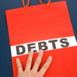 Shopping Bag and word debts — Stock Photo