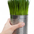 Green grass and metal can — Stock Photo