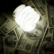 Stock Photo: Compact Fluorescent Ligh tbulb and dollar