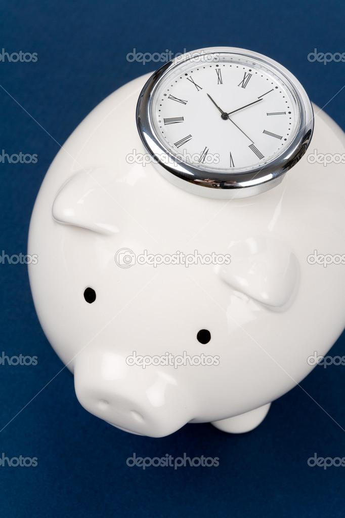 Piggy Bank and clock, Business concept  Stock Photo #9785935