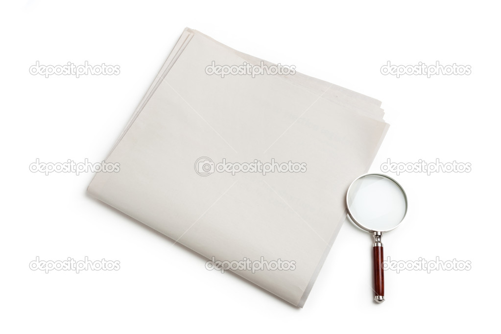 Blank Newspaper and magnifying glass with white background — Stock Photo #9927195