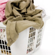 Laundry basket and dirty clothing — Stock Photo