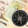 Compass and canadian dollar — Stock Photo #9956423