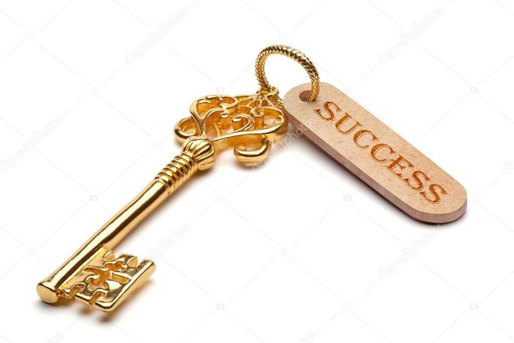 Golden key to success, isolated on the white background, clipping path included. — Stock Photo #8729438