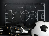Soccer strategy on a chalkboard — Stock Photo