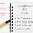 Stock Photo: New Year's resolutions listed