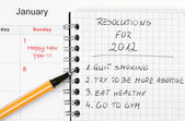New Year's resolutions listed — Stok fotoğraf