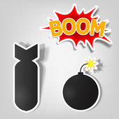 Bomb and rocket stickers — Vettoriale Stock