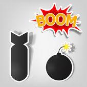 爆弾およびロケットのステッカー — ストックベクタ