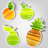 Set of vector stickers. fresh fruit — Stock Vector