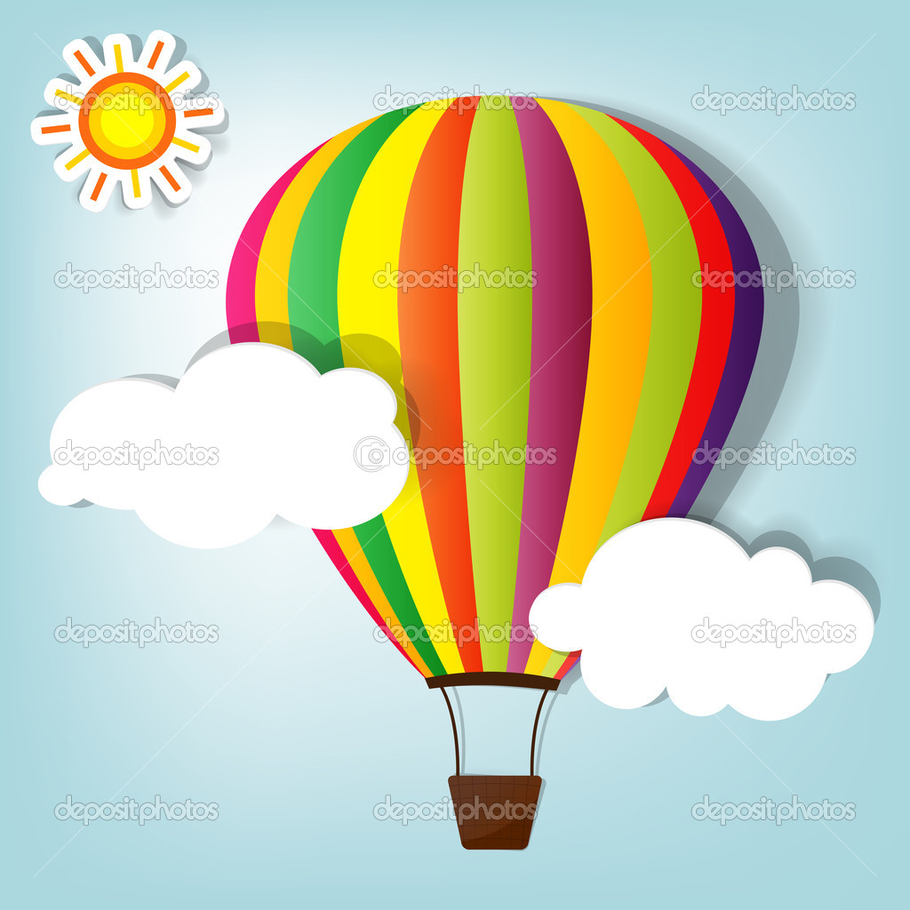 Vector illustration with hot air balloon in the sky — Stock Vector #7968433