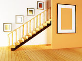 Staircase and paintings in the room — Stock Photo