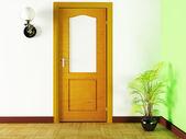 Uma planta e uma porta — Fotografia Stock