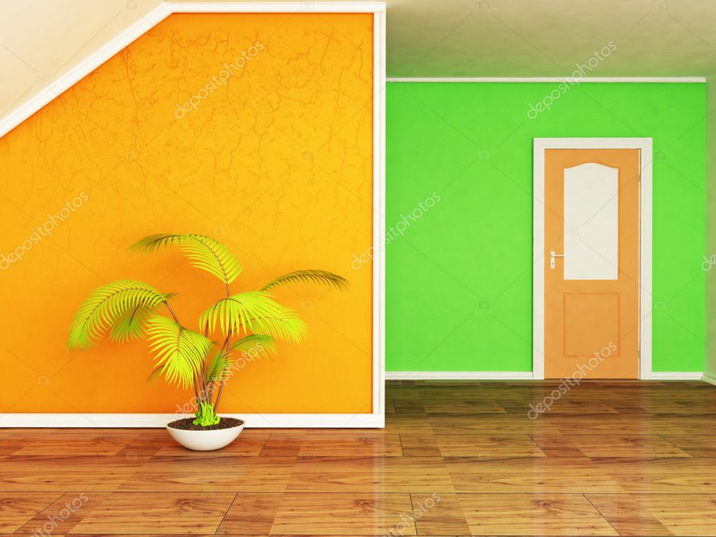 Interior design scene with the plant and the door — Stock Photo #10610486