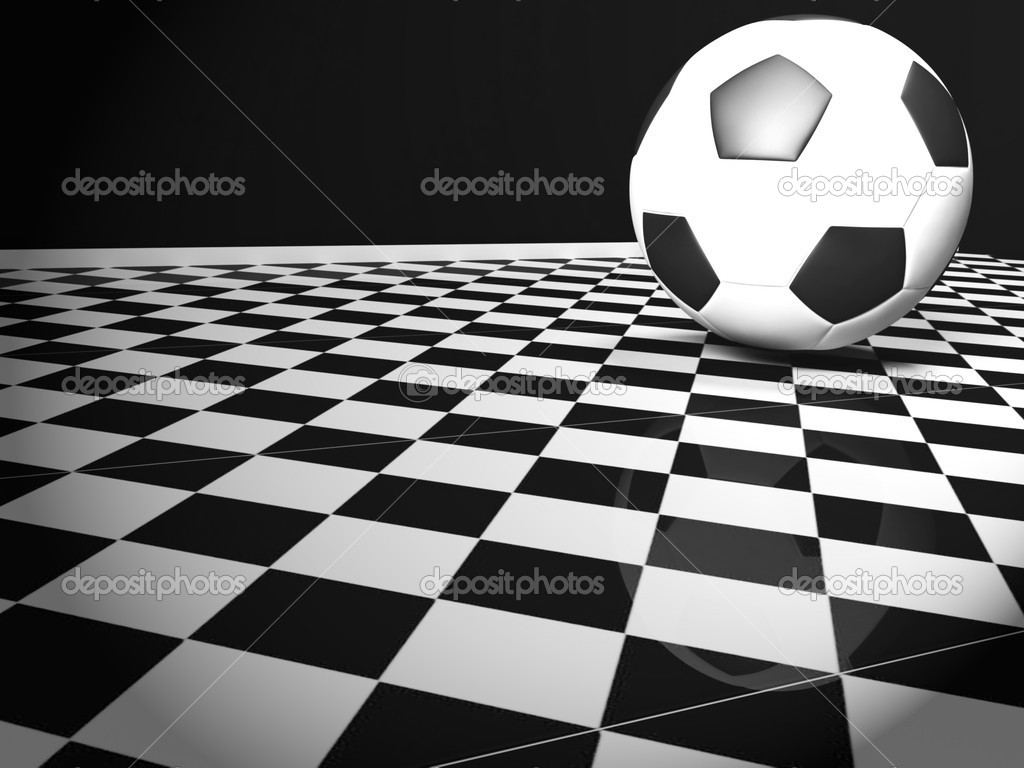 Soccer ball in the interior on the tiles — Stock Photo #10610538