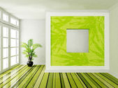 Interior design scene with a big window — Stock Photo
