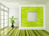 Interior design scene with a big window — Stock Photo