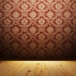 Empty interior with beautiful vintage wallpaper - Stock Photo