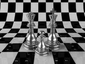 Composition of several chess — Stockfoto