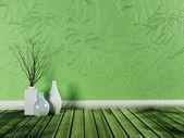 Interior design scene with the vases — Stock Photo