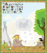 Американских индейцев картина — Cтоковый вектор
