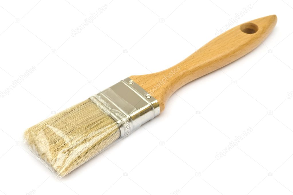 New paintbrush wrapped in plastic on white  Stock Photo #9052140