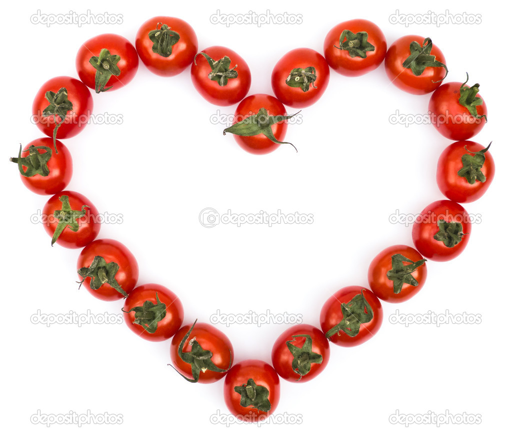 Love tomatoes on white background — Stock Photo #9138511