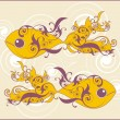 Royalty-Free Stock Vector Image: Two ornamental vector swimming fish on decorative background