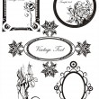 Stock Vector: Set of vector frames and ornaments with sample text for invitation
