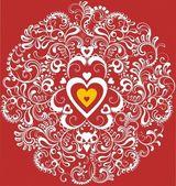 Vintage white heart in ornamental flourish circle — Stock Vector