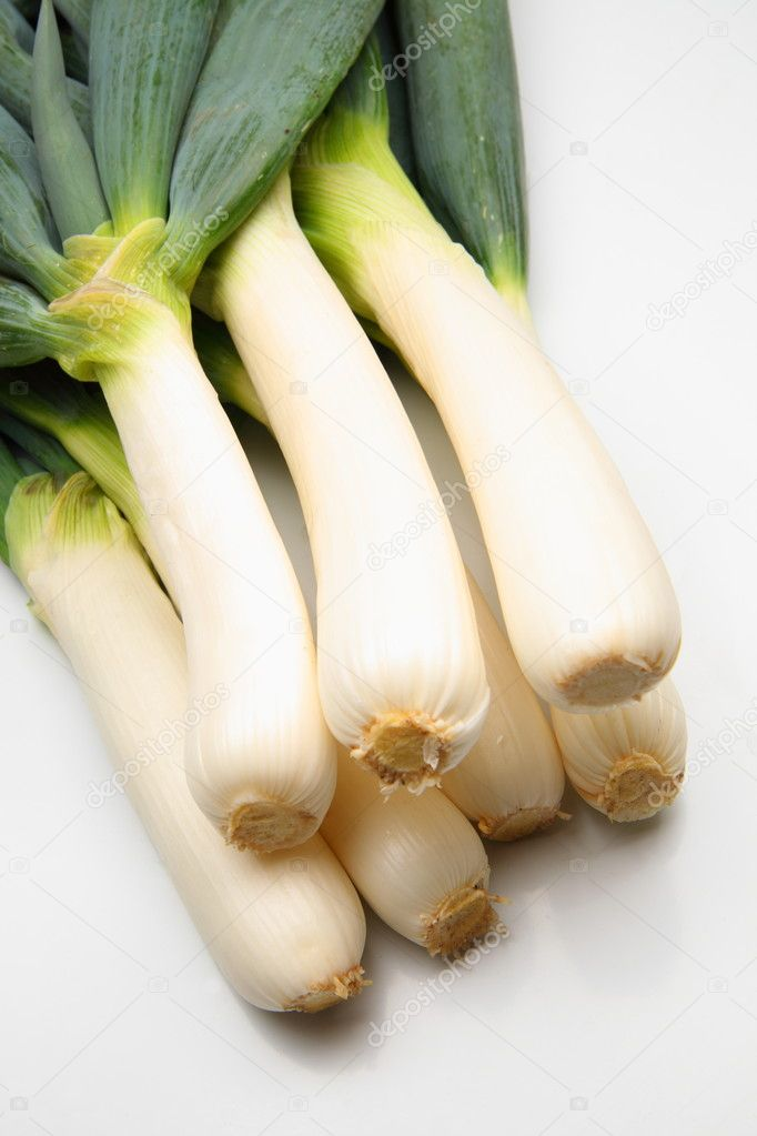 Japanese green onion closeup shoot, harvested in Japan — Stock Photo #8130061
