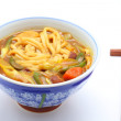 Udon cooked with curry topping — Stock Photo
