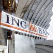 Sign of ING Bank reflected in window — Stock Photo
