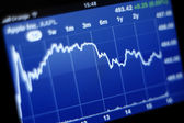 Apple Inc stock graph on iPhone 4s — Stock Photo