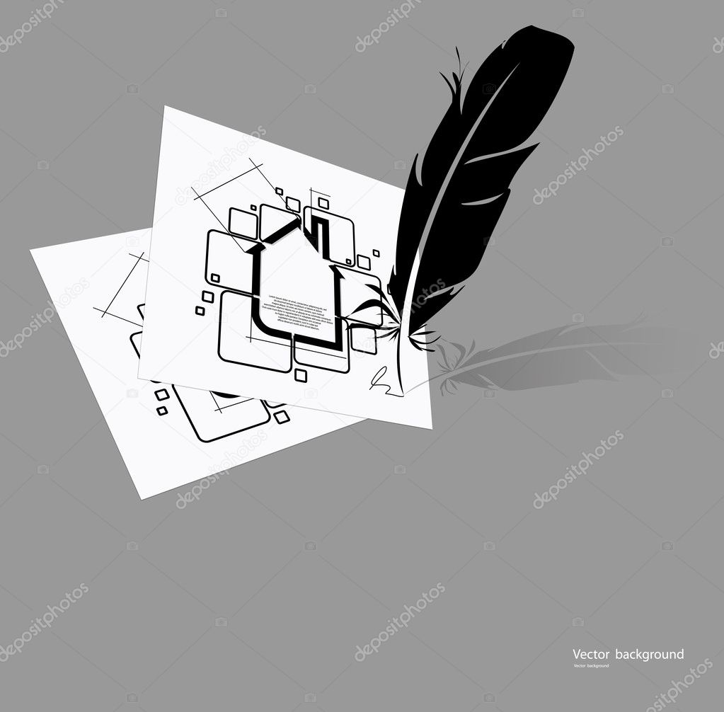 Real estate circuit vector with feather  Stock Vector #10547875