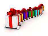 Gifts on wheels — Stock Photo