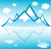 Montagna con nuvole riflesse sul formato vettoriale di acqua — Vettoriale Stock