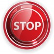 Glossy stop sign button for web applications. vector format — Stock Vector