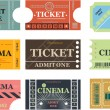 Set of cinema tickets vector - Stok Vektör