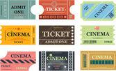 Set di vettore biglietti cinema — Vettoriale Stock