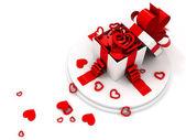 Abra a caixa de presente cheia de corações vermelhos de forma diferente — Foto Stock