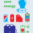Battery save energy set of icons vector — Stockvektor