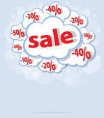 Försäljning procent cloud vektorformat — Stockvektor