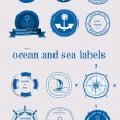 Ocean and sea labels and stamp vector — Stock Vector #9239490