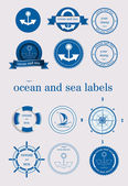 Ocean and sea labels and stamp vector — Stock Vector