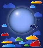 Abstracte donkere achtergrond met maan en wolken vector — Stockvector