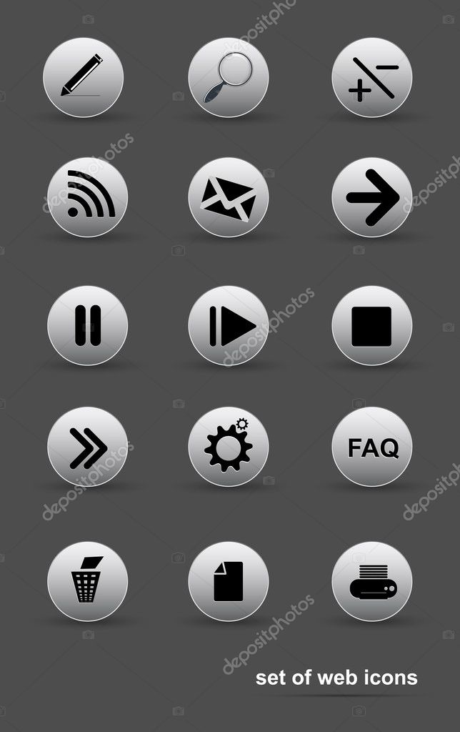 Set of web icons vector  Stock Vector #9848543