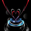Abstract technology heart on dark vector background — Stock Photo #9968121