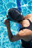 Plavec uvádění cap — Stock fotografie
