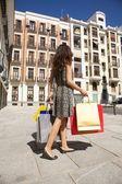 Seis bolsas y vestido de mujer — Foto de Stock